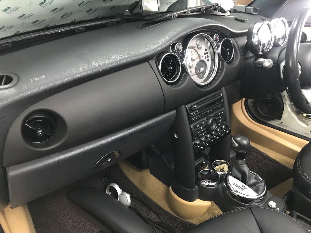 mini cooper s interior wrapped with 3m 1080 deep matte black!!, car