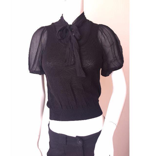 size 40 c8528 ee66c Philosophy de Alberta Ferretti Cut Label Black Faux Vest Pussycat Bow Small  Preloved