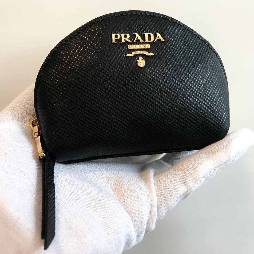 e32bbc3ea686 PRADA Black Saffiano Cuir Card + Coin Pouch Wallet 100% AUTHENTIC+ ...