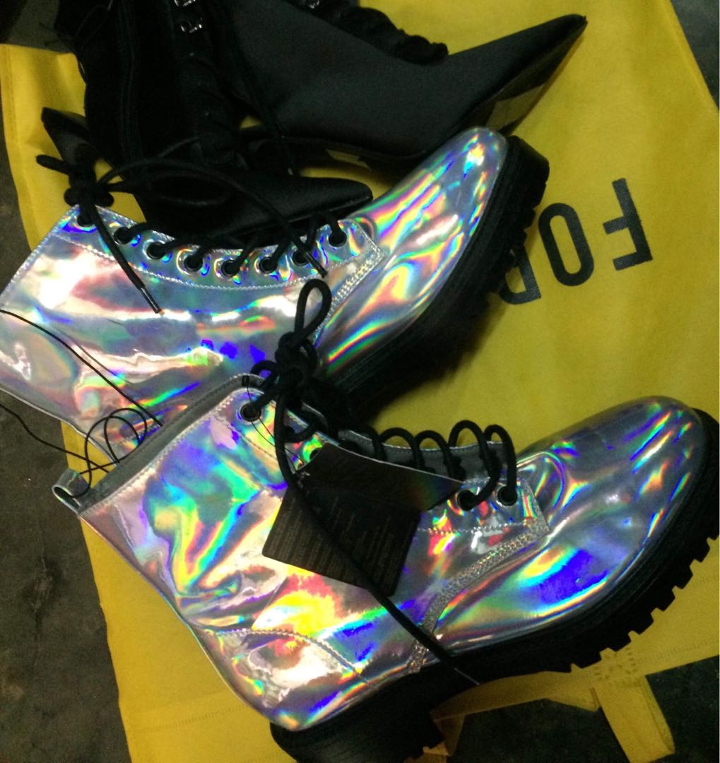 1270c9c7189 Silver holographic Combat boots