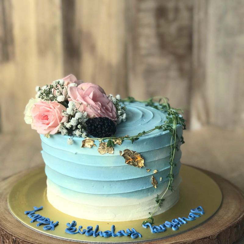 Simple Elegant Birthday Cake Blue Rustic FREE