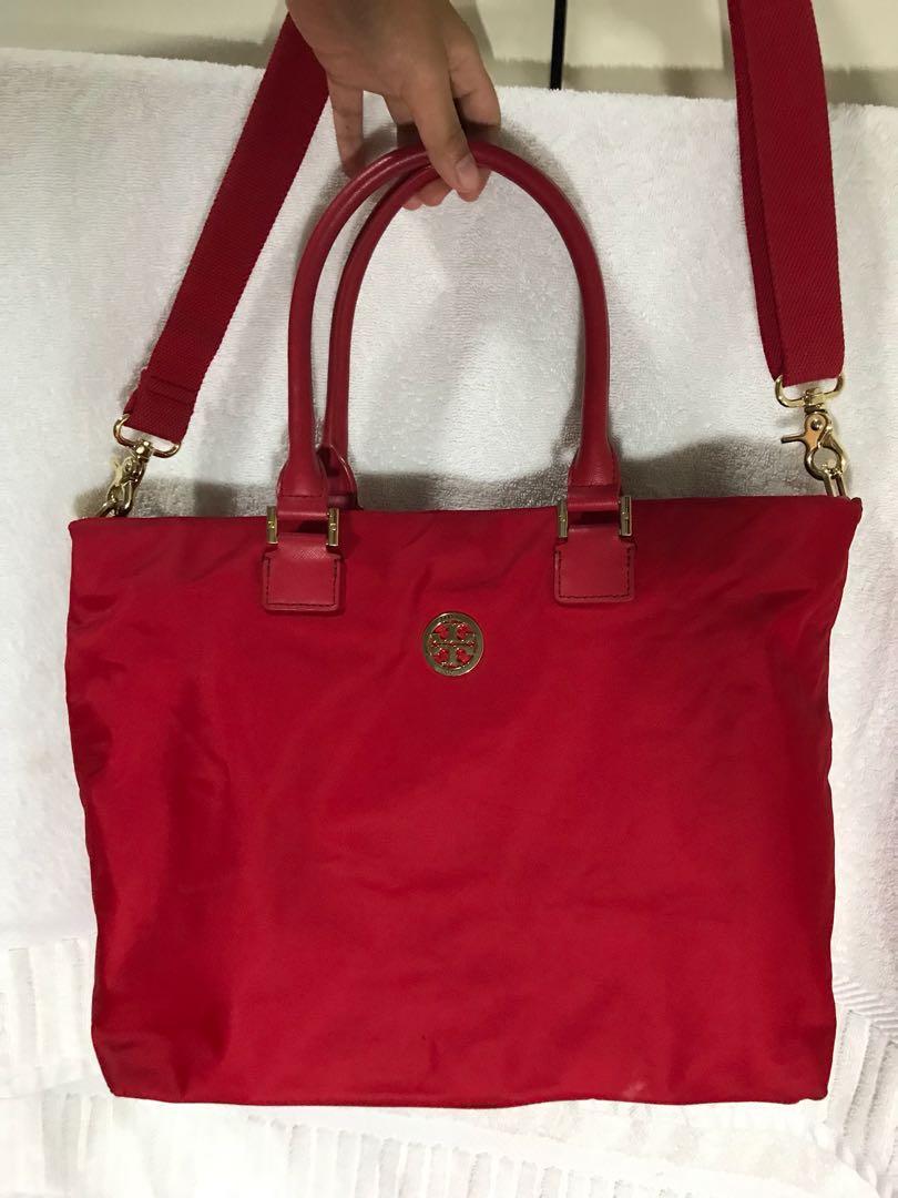 92d189583ab Tory Burch Red Nylon Bag