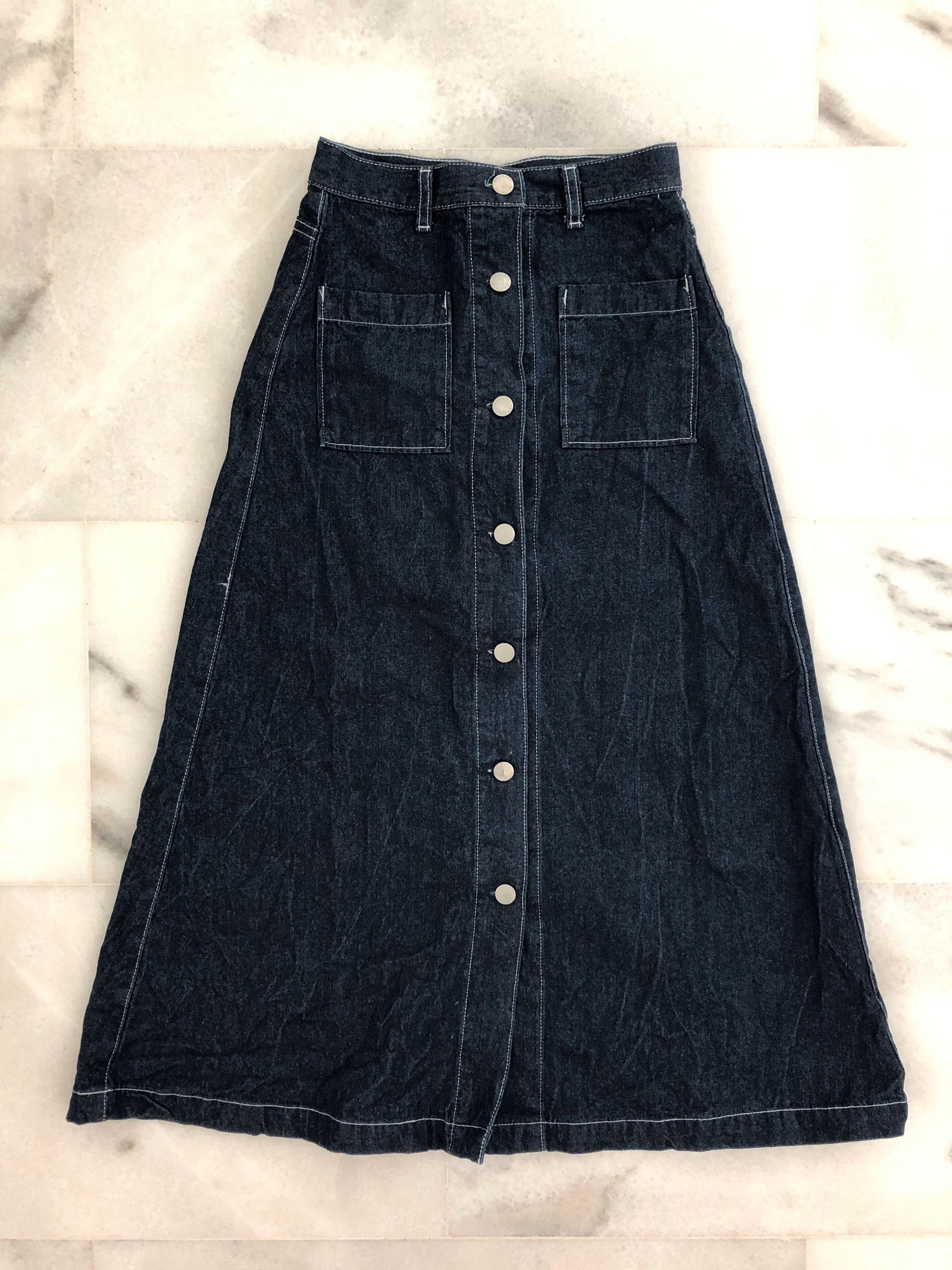 f78c90c4f093 Uniqlo GU Japan Beautiful Long Denim A Line Skirt