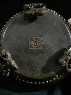 大明宣德紫銅鎏金香爐、重量約30kg