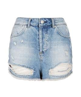 Topshop Moto Ripped High Waist Shorts