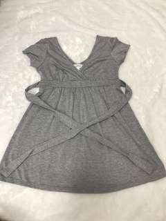 Grey v top with waist sash