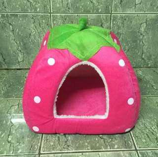 Strawberry Soft Plush Dome Bed for Pets Dogs Cats (10x10 inches)