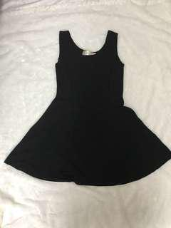 Plain black skater dress