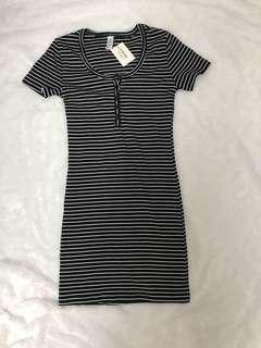 AA inspired stripes button dress