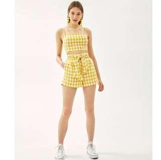 🚚 BNWT Bershka Yellow Gingham Co-Ord Set
