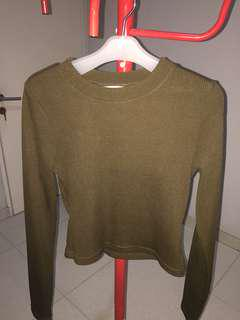 H&M ARMY PLEATED LONG SLEEVE TOP