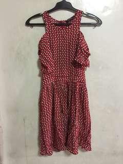 Miss selfridge red dress eu 36 petites cold shoulder