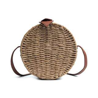 Round Rattan Woven Bag