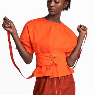🚚 HnM Cotton Corset Blouse in Orange