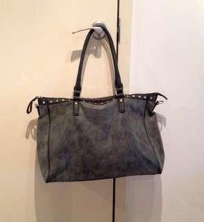 Big black studded tote bag