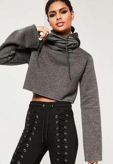 Missguided turtleneck cropped hoodie size US 2