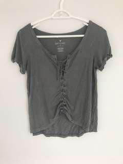 American Eagle Lace up T shirt size small