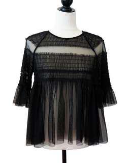 Black mesh blouse