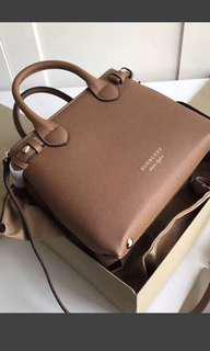 Burberry logo monogram side shoulder bag brown