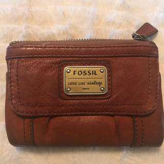 FOSSIL brown leather wallet Long live vintage