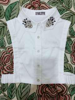 Fake Collar - White with Studs