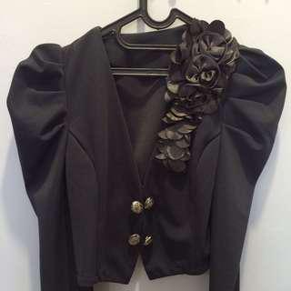 Dark Gray Blazer with Floral, size L kecil fit to M