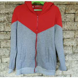 RED GRAY TWO TONE HOODIE with ZIP