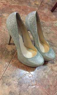 Aldo Silver Glitter Sparkly High Heels size 40