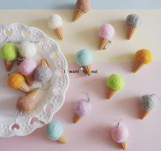 🚚 (全新免運)韓版粉嫩馬卡龍色冰淇淋甜筒耳環