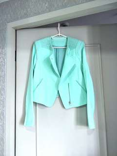 High-quality mint moto jacket