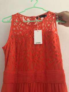 Orange color dinner dress