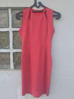 Hardware red dress stretch