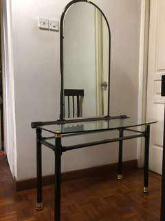 Dressing Table with mirror (Glass Top 1cm thick & brass legs)