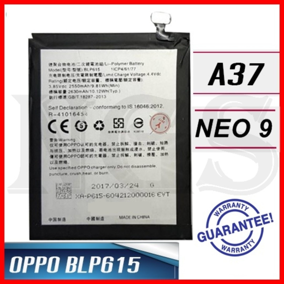 100% Ori OPPO A37 NEO 9 2630mAh Battery BLP615 with 8pcs opening tools