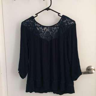 Lace Blouse In Navy