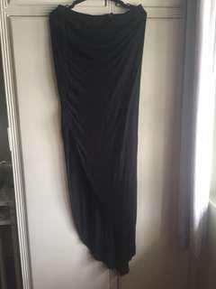 High Waisted Black Forever21 Slit Skirt
