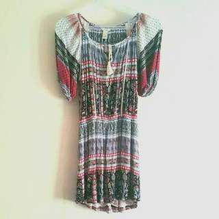 Forever 21 Mini Boho Peasant Dress