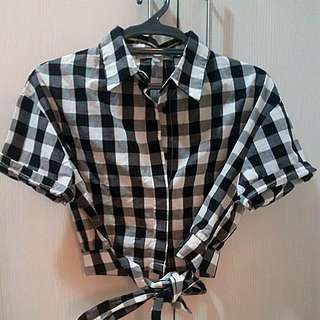 crop plaid polo from f&h