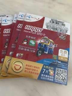 8天 泰國 Happy 4G 上網卡 電話咭 ,內付$100銖通話分鐘