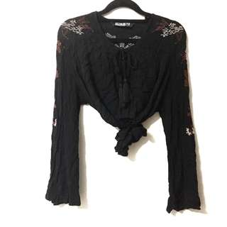 Flared sleeve blouse with tassels