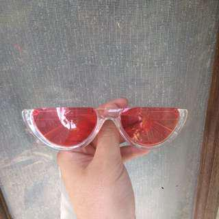 Sunglasses Half Transparan Red