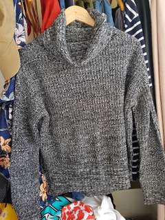 Cozy grey knit jumper - Roller neck