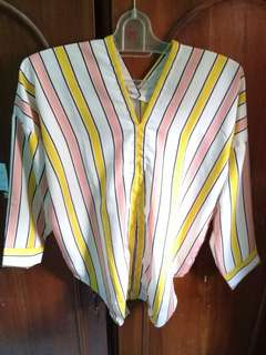 V neck / blouse stripe / baju panjang / atasan