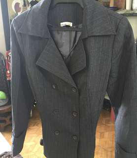 Coat Grey with Overlap Front Two Buttons