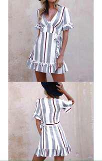 Brand new stripe Pom Pom dress