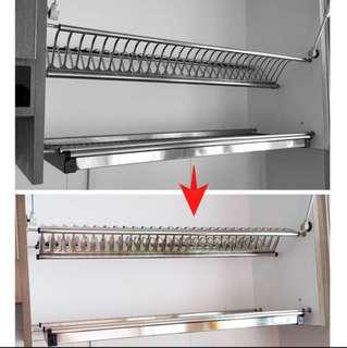 FREE DELIVERY SUS304 stainless steel Kitchen cabinet dish rack