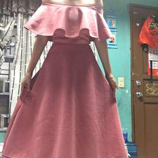 Off shoulder long dress gown