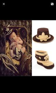 Cowboy bewborn photography costume