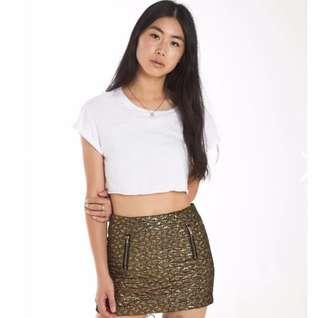 Topshop metallic gold mini skirt size 8