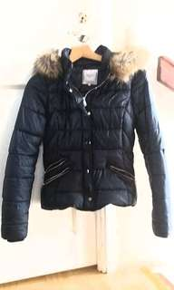 ZARA FAUX FUR HOODED SHORT JACKET